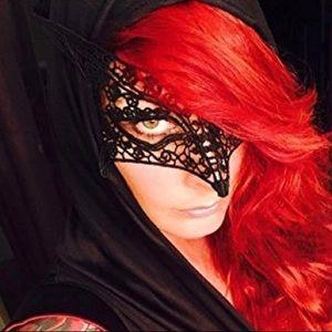 New black lace self tie masquerade mask